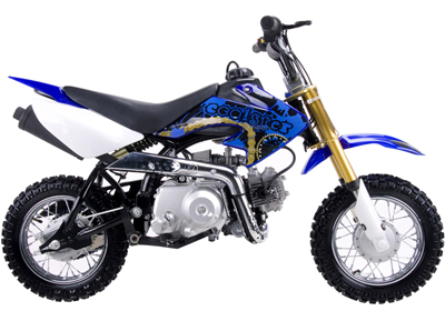 blue & gold Coolster 110cc motocross-minibike