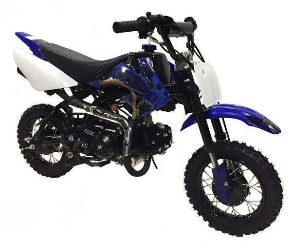 blue & black Coolster 110cc motocross-minibike