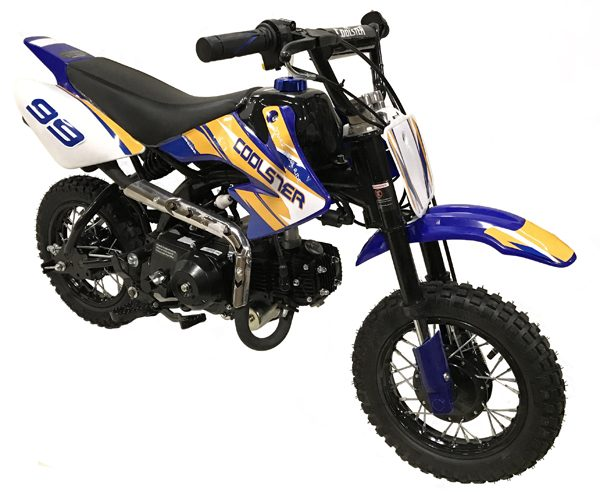 blue & yellow Coolster 110cc motocross-minibike