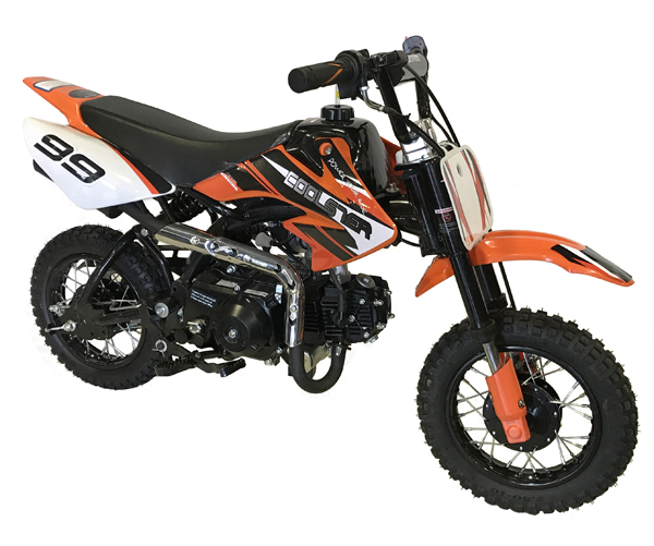 orange with black forks Coolster 110cc motocross-minibike
