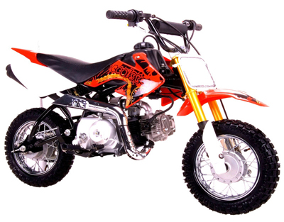 orange with gold forks Coolster 110cc motocross-minibike