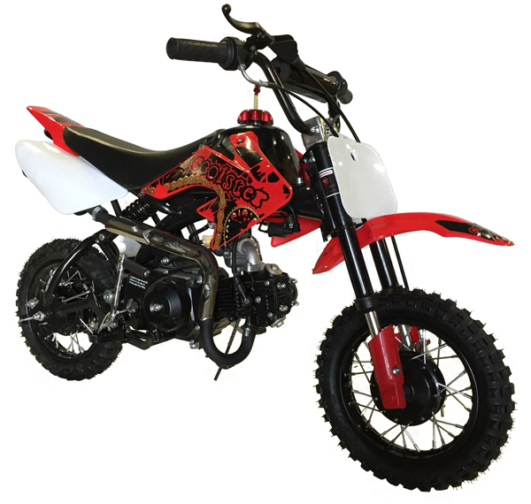 red & black Coolster 110cc motocross-minibike