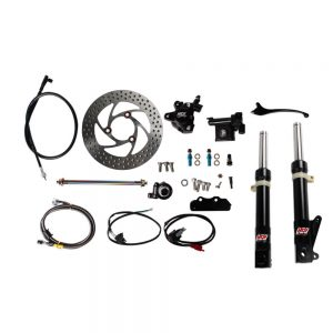 NCY Front End Kit (Black Forks, No Rim); Honda Ruckus