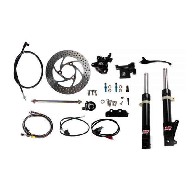 NCY Front End Kit (Black Forks, No Rim); Honda Ruckus