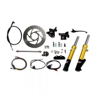 NCY Front End Kit (Gold Forks, No Rim); Honda Ruckus