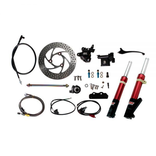 NCY Front End Kit (Red Forks, No Rim); Honda Ruckus